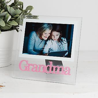 """4"""" x 6"""" - מסגרת תמונה נצנצים ורוד זכוכית - סבתא"""
