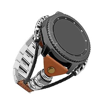 Replaceable Bracelet For Samsung Gear S3/galaxy Watch 46mm Metal Braided Chain Leather Strap