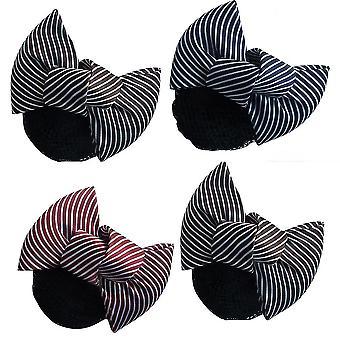 4pcs Women Satin Net Hair Band Hairpin Ribbon Bow Bowknot Net Bun Snood
