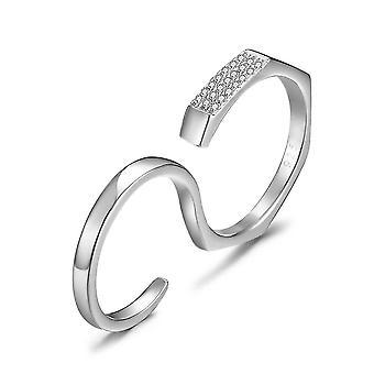 Sterling Silber Ring Zirkonia Verlobung Multi-Finger-Ring