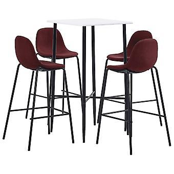 vidaXL 5 pcs. Bar-Set Fabric Wine Red