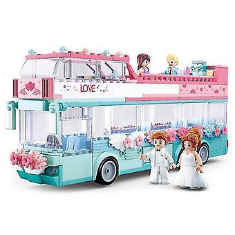Samlet bygning Bryllup float Drenge og piger børn legetøj hjerne spil| Stabling blokke (Pink)