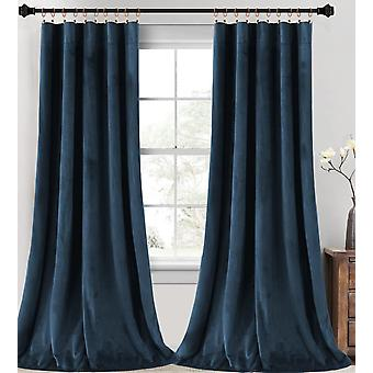 2X rideaux de velours super doux décoration intérieure salle d'assombrissement rideaux pour le salon, rideaux de velours isolés thermiquement pour la chambre à coucher, marine