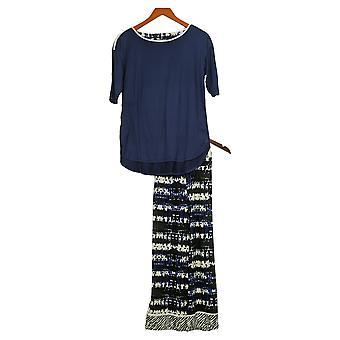 Cuddl Duds Femmes Cool &Airy Imprimé Recadré Pyjama Set Bleu A373980