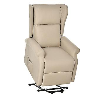HOMCOM Electric Lift Chair Stand Assist Recliner Armchair Linen Fabric Functional w/ Remote Control Home Living Room Furniture Cream White