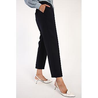 Elastic Waist Straight Pants