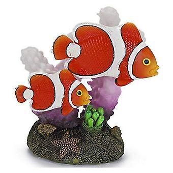 Penn Plax Clown Fish and Coral Aquarium Ornement - 2» L x 3» H
