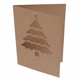 5 Kraft 4&x6&Julgransutklippskort och kuvert