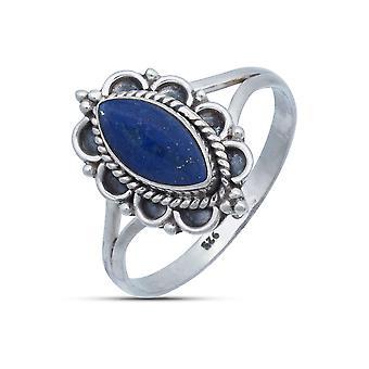 Pierścień Srebrny 925 Sterling Silver Lapis Lazuli Niebieski Kamień (Nr: MRI 152-06)