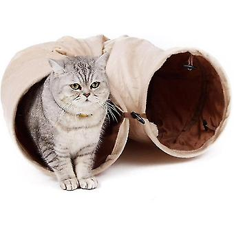 Cat toys cat tunnel road with 2 soft and foldable holes  cat toy with beige suspended ball d25 * 120cm