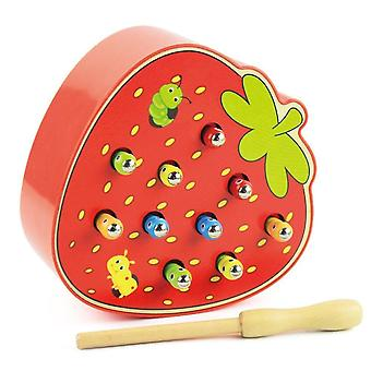 Pretend professions role playing 3d puzzle early childhood educational toys catch worm game strawberry/apple|gags practical