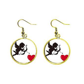 Cupidon Angel Red Heart Pattern Ear Dangle Golden Drop Boucle d'oreille Bijoux Femme
