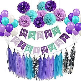 Decoraciones de fiesta de cumpleaños para niñas mujeres, 52pcs Sirena Fiesta de cumpleaños Suministros de feliz cumpleaños Banner, globos, pom Poms Flores