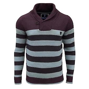 Soul Star Men's Seaton Striped Shawl Neck Knitted Jumper Top