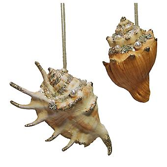 Coastal Shells Pearl Encrusted Holiday Ornaments Set of 2 Katherine's Collection