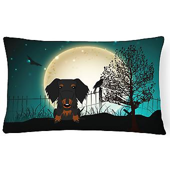 Halloween Scary Wire Haired Dachshund Black Tan Canvas Fabric Decorative Pillow