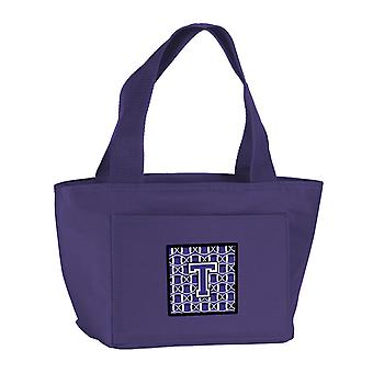 Letter T Football Purple and White Lunch Bag