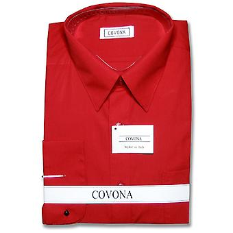 Covona Men's Solid Dress Shirt w/ Convertible Cuffs