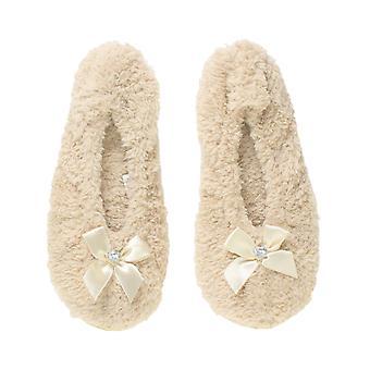 Ajvani Womens elastischen Slip-on-Fleece Winter Herz Juwel Bogen Pantoffeln Socken