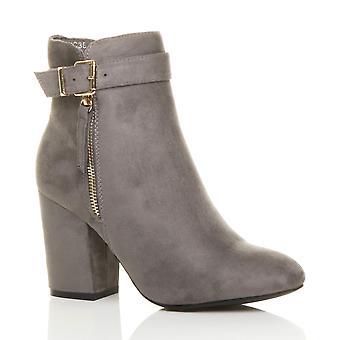 Ajvani dame blokere højhælede guld zip spænde gjorden ankel støvler støvletter