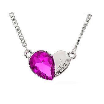 Naisten sydän hopea & kuuma vaaleanpunainen riipus kaulakoru kristalli kivi BG1633