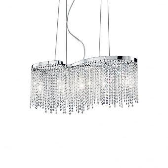 Ideal Lux Augustus Chrome cristal 5 ampoule Design moderne lustre pendentif