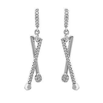 Orphelia Silver 925 Earring lijnen gekruist met Zirkonium ZO-7322