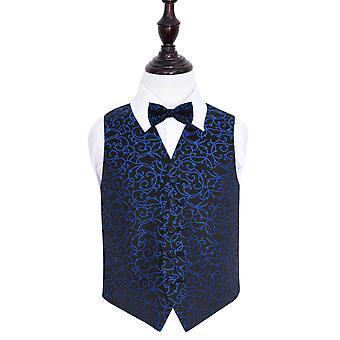 Colete de casamento preto & azul do redemoinho & gravata conjunto para meninos