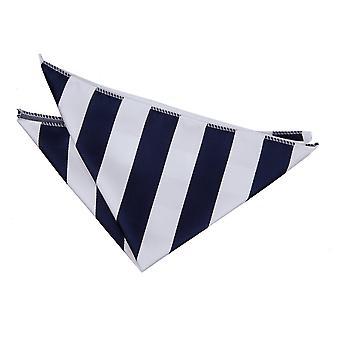 Navy & White Striped Pocket Square
