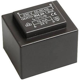Gerth PT304802 PCB mount transformer 1 x 230 V 2 x 24 V AC 1.80 VA 37 mA