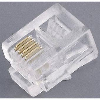 Modular Stecker, geraden Anzahl der Pins: 4P4C 142140 Transparent BKL Electronic 142140 1 PC