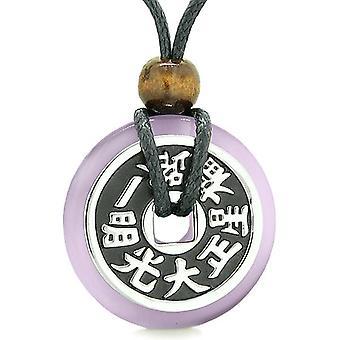 Stor dubbel Lucky reversibel förmögenhet mynt Donut lila katter ögat Feng Shui befogenheter hängsmycke halsband