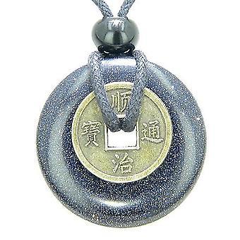 Pièce porte-bonheur antique bonne chance pouvoirs amulette Goldstone bleu pierres précieuses 30mm Donut Collier pendentif