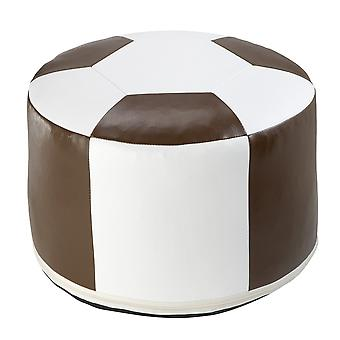 Football cushion synthetic leather white / Brown Ø 50/34 cm