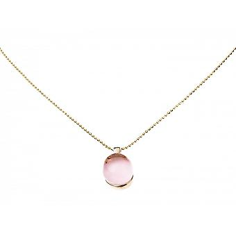 Rosa - collar - colgante - plata 925 plateado - cuarzo rosa - - 42 cm
