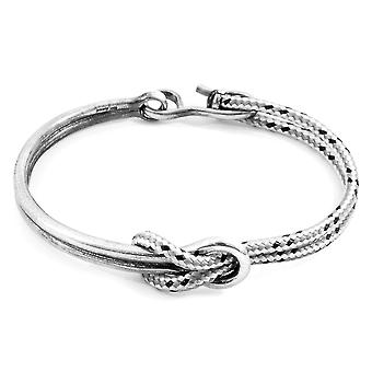 Anchor & Crew Grey Dash Tay Silver and Rope Half Bangle