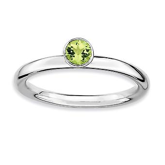 925 Sterling Silver Bezel Polished Rhodium plated Stackable Expressions High 4mm Round Peridot Ring Jewelry Gifts for Wo