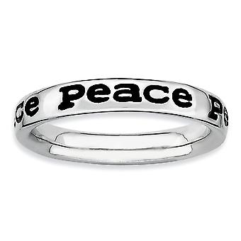 925 Sterling Silver Patterned Black Enamel Rhodium plated Stackable Expressions Polished Enameled Peace Ring Jewelry Gif