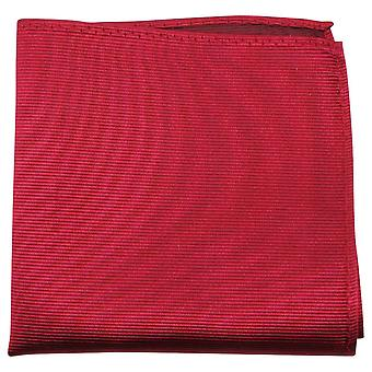 Knightsbridge Neckwear Ribbed Silk Pocket Square - Crimson Red