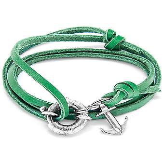 Anclaje y equipo Clyde plata y pulsera de cuero - Fern Green