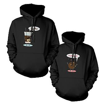 Ice Coffee och Cookie par matchande Hoodies Hooded tröjor