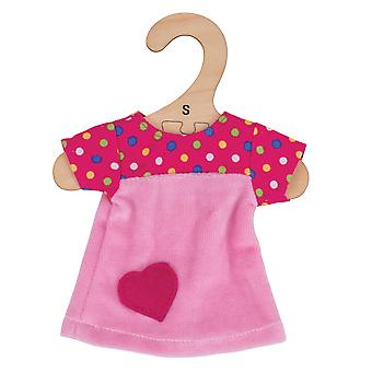 Bigjigs Toys Pink Dress with Spots (for Size Small Doll) - FOR BIGJIGS TOYS DOLLS ONLY