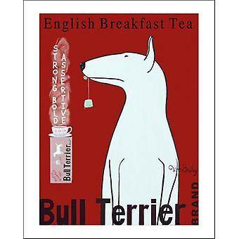 Bull Terrier Tea Poster Print by Ken Bailey (8 x 10)