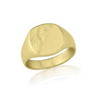 Star Wedding Rings Cushion-Shaped 9ct Yellow Gold Extra-Heavy Weight Engraved Signet Ring