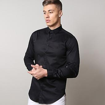 Life and Limb Long Sleeve Stretch Sateen Mens Shirt With Contrast Buttons