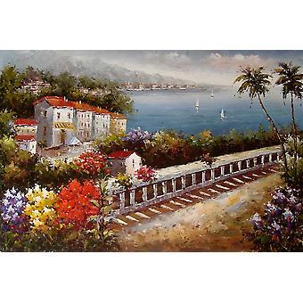 المناظر الطبيعية ، رسمت باليد وحه زيتية علي قماش ، 90x60 سم