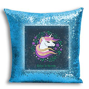 i-Tronixs - Unicorn Printed Design Blue Sequin Cushion / Pillow Cover for Home Decor - 10