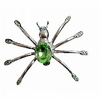 Silver Plated Peridot Crystals Stunning Spider Dress Brooch