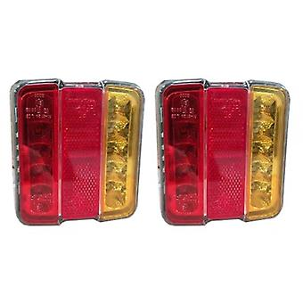 "LED 4"" Square Trailer Tail Light Pair 12V Vehicle Rear Reflector/Stop/Indicator"