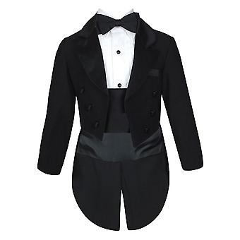 Baby and Boys Tuxedo Tail Black Suit Set